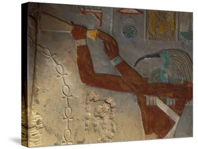 God Thoth Purifying Hetsheput at the Karnak Temple, Egypt-Claudia Adams-Stretched Canvas Print
