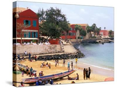 Boats and Beachgoers on the Beaches of Dakar, Senegal-Janis Miglavs-Stretched Canvas Print