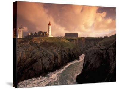 Pointe De St. Mathieu Lighthouse at Dawn, Brittany, France-Walter Bibikow-Stretched Canvas Print