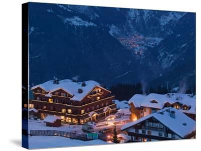 View of Town and Le Croisette Area, Courchevel 1850, French Alps, Savoie, France-Walter Bibikow-Stretched Canvas Print