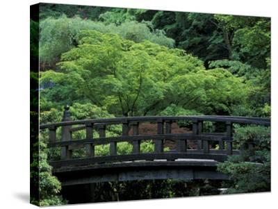 Footbridge in Japanese Garden, Portland, Oregon, USA-Adam Jones-Stretched Canvas Print