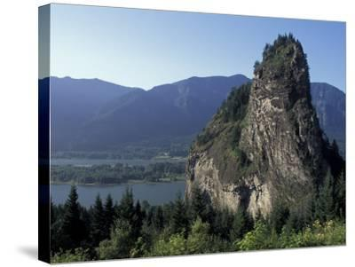 View of Beacon Rock on the Columbia River, Beacon Rock State Park, Washington, USA-Connie Ricca-Stretched Canvas Print