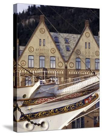 Traditional Architecture and Vessel of Bergen, Norway-Michele Molinari-Stretched Canvas Print