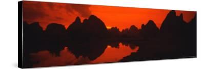Panoramic of Guilin, Yangshao Li River, Limestone Mountains, China-Bill Bachmann-Stretched Canvas Print