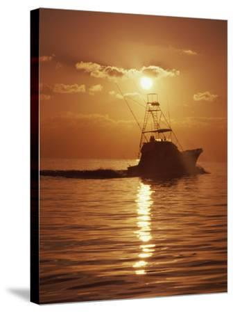 Fishing Boat with Sunset Sky--Stretched Canvas Print