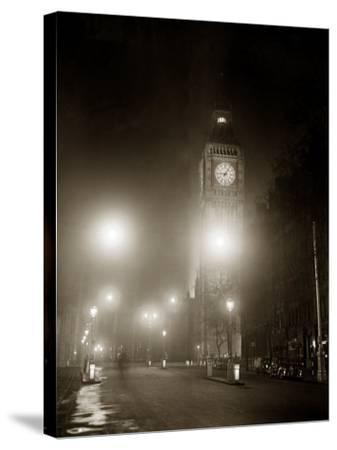 Big Ben and the Houses of Parliament Floodlit for the Opening of the Festival of Britain, 1951--Stretched Canvas Print