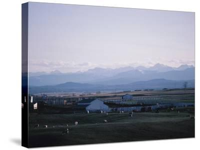Farm in Mountain Valley - Rockies, Calgary, Banff--Stretched Canvas Print