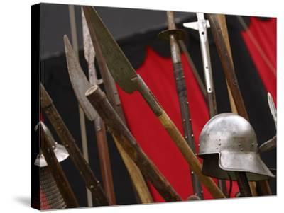 Swords and Helmet--Stretched Canvas Print