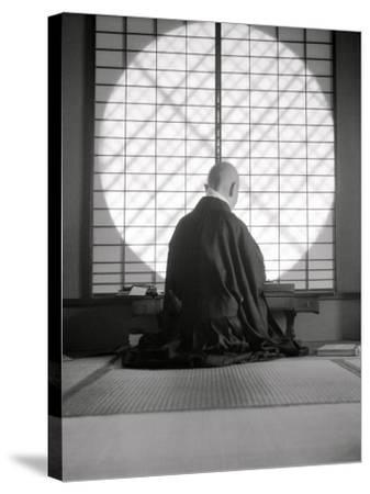 Kyoto: Temple of Gyoji, the Abbess Writes--Stretched Canvas Print