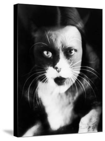 Me and Cat', Two Superimposed Photos of Wanda Wulz and of Her Cat-Wanda Wulz-Stretched Canvas Print