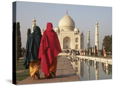 Women at Taj Mahal on River Yamuna, India-Claudia Adams-Stretched Canvas Print