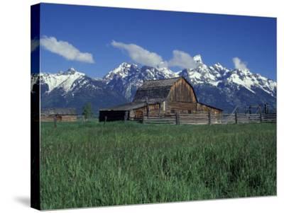 Jackson Hole Homestead and Grand Teton Range, Grand Teton National Park, Wyoming, USA-Jamie & Judy Wild-Stretched Canvas Print