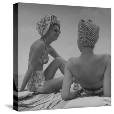 Wives of Men in the Us Army and Navy Relaxing in the Sun-Peter Stackpole-Stretched Canvas Print