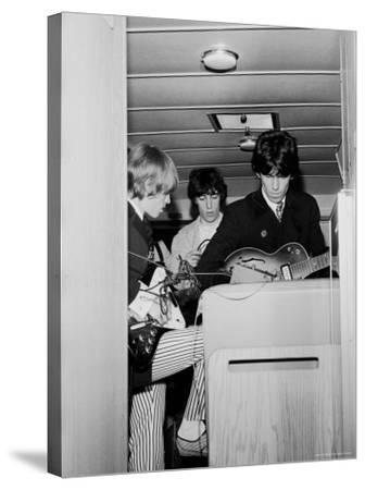 Members of the Rolling Stones Checking Their Instruments Before a Concert at Forest Hills Stadium-Walter Daran-Stretched Canvas Print