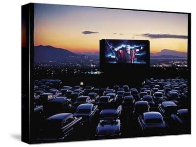 "Charlton Heston as Moses in Motion Picture ""The Ten Commandments"" Shown at Drive in Movie Theater-J^ R^ Eyerman-Stretched Canvas Print"