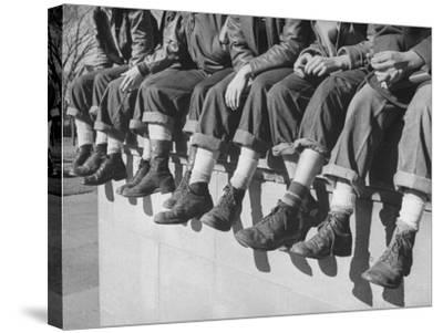 """Boys Sporting Their Latest Fad of Wearing G.I. Shoes Which They Call """"My Old Lady's Army Shoes""""-Alfred Eisenstaedt-Stretched Canvas Print"""