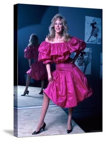 Actress Morgan Fairchild Wearing Pink Dress, Reflected by Mirror-David Mcgough-Stretched Canvas Print