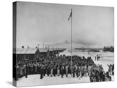 Nisei Japanese Americans Participating in Flag Saluting Ceremony at Relocation Center During WWII-Hansel Mieth-Stretched Canvas Print
