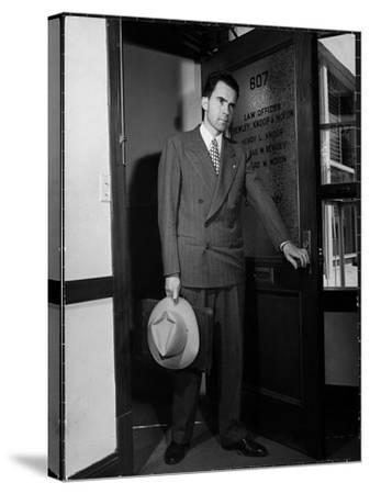 Attorney Richard Nixon in the Doorway of Law Office After Returning From WWII to Resume His Career-George Lacks-Stretched Canvas Print