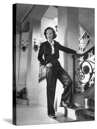 Mrs. Phillip Isles Wearing Bull Fighter Pajamas with Bolera Jacket-Nina Leen-Stretched Canvas Print