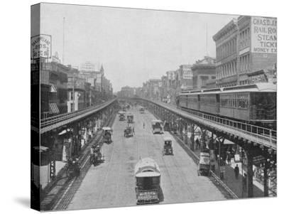 Manhattan Elevated Railway Running on Tracks Constructed Alongside the Bowery--Stretched Canvas Print