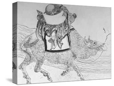 Drawing by Japanese Artist Hokusai of Chinese Philosopher Lao Tse, Founder of Taoism--Stretched Canvas Print