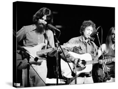 George Harrison, Bob Dylan and Leon Russell Performing for Bangladesh at Madison Square Garden-Bill Ray-Stretched Canvas Print