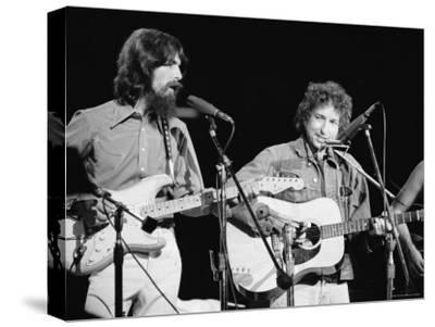 George Harrison and Bob Dylan during the Concert for Bangladesh at Madison Square Garden-Bill Ray-Stretched Canvas Print