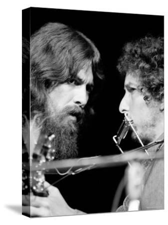 George Harrison and Bob Dylan Performing Together at Rock Concert Benefiting Bangladesh-Bill Ray-Stretched Canvas Print