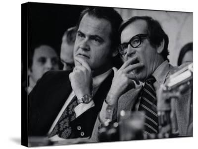 Sen. Howard Baker, Minority Counsel Fred Thompson Listening During Watergate Hearings-Gjon Mili-Stretched Canvas Print