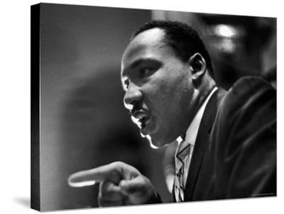 Rev. Martin Luther King Jr. Speaking in First Baptist Church at Rally for Freedom Riders-Paul Schutzer-Stretched Canvas Print