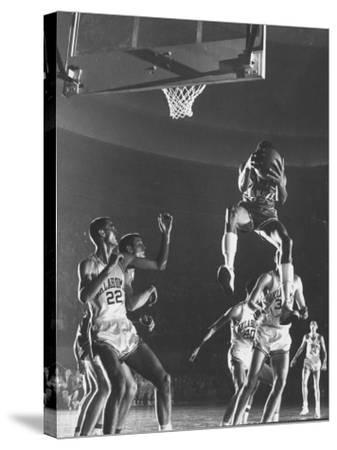 University of Kansas Basketball Star Wilt Chamberlain Playing in a Game-George Silk-Stretched Canvas Print