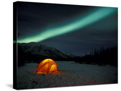 Camper's Tent Under Curtains of Green Northern Lights, Brooks Range, Alaska, USA-Hugh Rose-Stretched Canvas Print