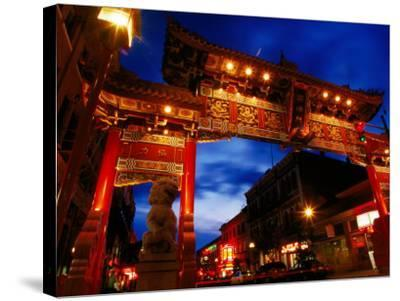 Chinatown Main Gate at Night, Victoria, Canada-Lawrence Worcester-Stretched Canvas Print