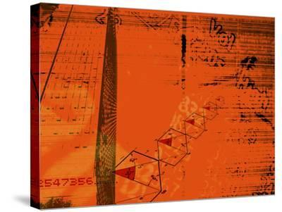 Red Background with Diagrams, Information and Numbers Superimpos--Stretched Canvas Print
