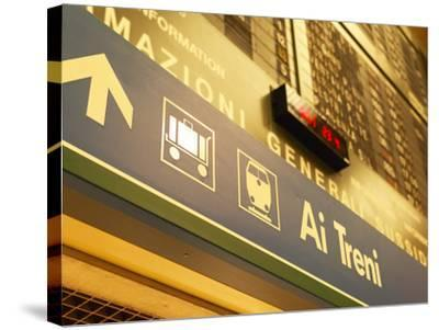 Italian Sign in Train Station Pointing to Luggage Area--Stretched Canvas Print