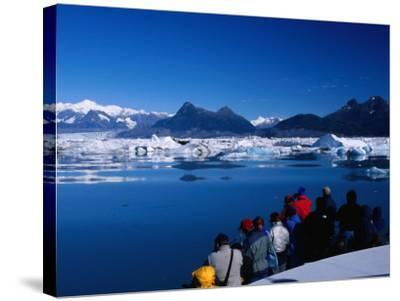 People on Tour Boat Looking Over Columbia Glacier, Prince William Sound, USA-Brent Winebrenner-Stretched Canvas Print
