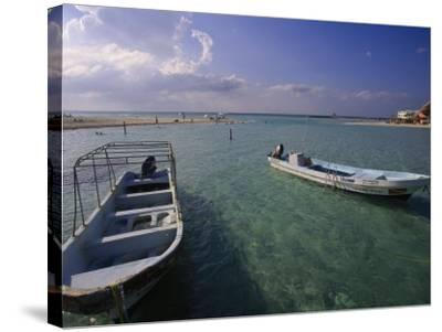 Boats, Playa Norte, Isla Mujeres, Mexico-Walter Bibikow-Stretched Canvas Print