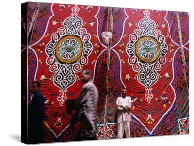 Men Outside Tents in Souq Area of Islamic, Cairo, Egypt-Phil Weymouth-Stretched Canvas Print