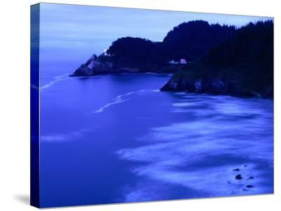 Bay with Heceta Head Lighthouse and Light Keepers House, Yachats, USA-Brent Winebrenner-Stretched Canvas Print