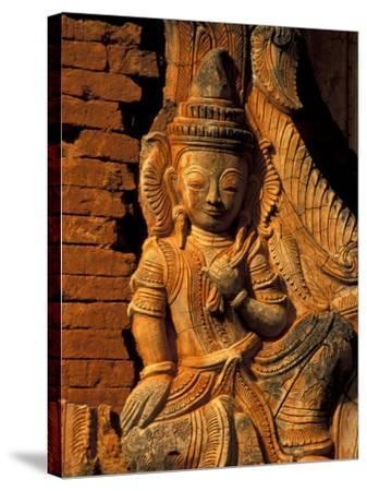 Buddha Carving at Ancient Ruins of Indein Stupa Complex, Myanmar-Keren Su-Stretched Canvas Print