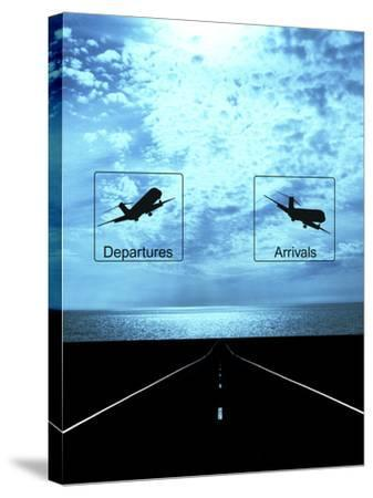 Arrival, Departure Signs and Runway--Stretched Canvas Print
