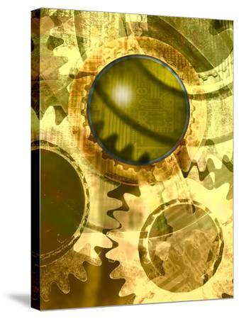 Machine Cogs--Stretched Canvas Print