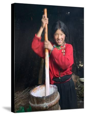 Tibetan Girl Making Butter Tea Inside the Yurt, Dingqing, Tibet, China-Keren Su-Stretched Canvas Print