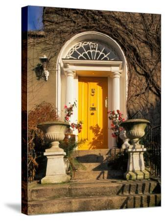 Stairs Leading to Bright Yellow Door, Dublin, Ireland-Tom Haseltine-Stretched Canvas Print