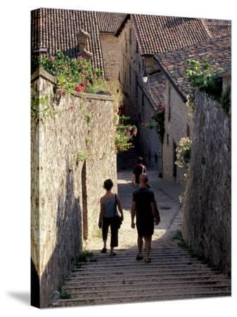 Steep Alleyway, Gubbio, Umbria, Italy-Inger Hogstrom-Stretched Canvas Print