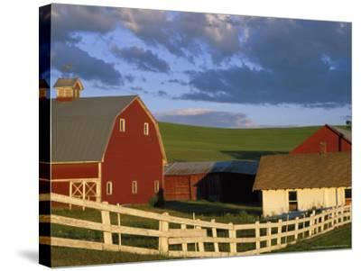 Red Barn with Fenceline in Summer, Whitman County, Washington, USA-Julie Eggers-Stretched Canvas Print