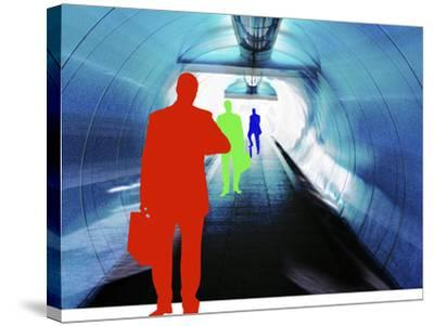 Colorful Silhouettes of Businessmen Looking at Watches in Subway Tunnel--Stretched Canvas Print