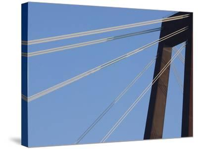 A Tall Suspension Bridge Support with Cables--Stretched Canvas Print