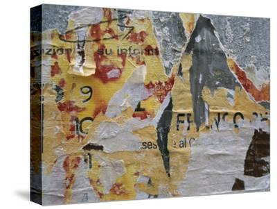 Close-Up of Torn Posters on a Wall in Venice-Todd Gipstein-Stretched Canvas Print